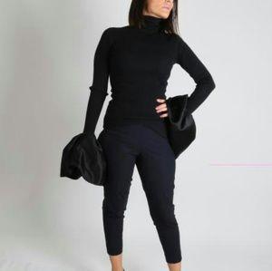 PIAZZA SEMPIONE Audrey Black Wool Dress Pants
